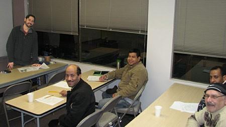men in classroom